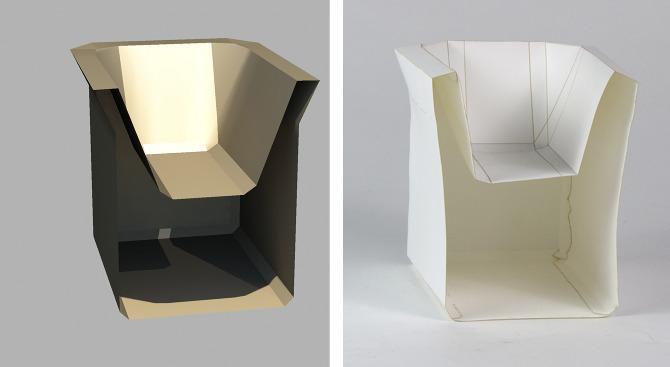 Chair 3d Model And Paper Prototype Asliozcivelek